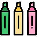 canetas e marcadores